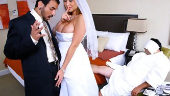 It was Alanahs wedding night and her husband passed out and would not wake up no matter what she tried. She was looking hot in that tight wedding dres