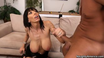 That nasty and ugly pair of huge tits work as a cock pleasing machine. Dude fucks her tits and greedily polishes her mature cunt.