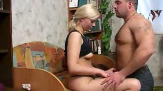 Sexy Russian blonde teen is eager to suck the dick of this chubby dude and bends over for him. The guy is also willing to eat her sweet pussy!