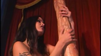Dude, this shit is unbelievable. One nasty cock craving hooker manages to go onto the biggest dildo in the world. It's even thicker than her hip!