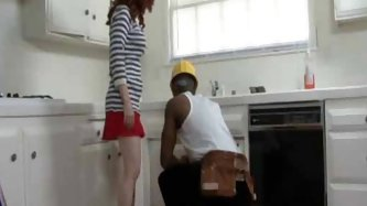 Redhead girl and black boy