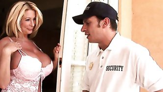 Summer Sin lives in an upscale private residence where security guards keep an eye out on those enormous and very valuable huge tits! While her husban