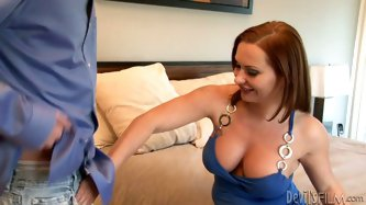 She is a dirty bitch who fucks her best friend's husband. Redhead slut sucks big dick deepthroat. Then, she lies on a bed spreading her legs wide