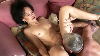 This spoiled granny wants her lover's tongue in her pussy. She spreads her legs wide indicating how bad she wants her hubby to lick her wet snatc