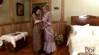 Let's get back to the 18th century with original sex video by DDF Network. Two maids of honor in luxurious dresses please a king with lesbian sex
